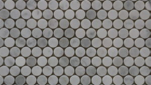 Mosaic floor tiles Penny Round Carrara Honed Mosaic tiles - Lapege